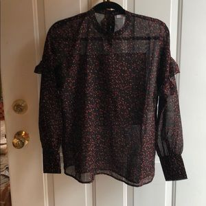 NWOT black sheer top with red print